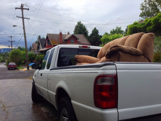 Discarded couch on truck